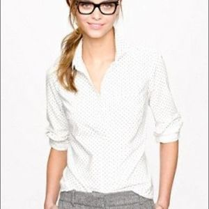J. Crew Women's White Black Polka Dot Button Down